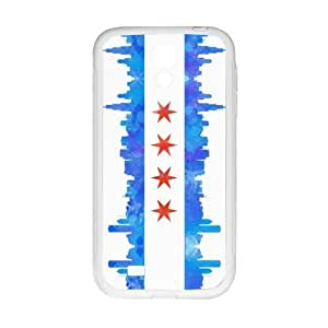 Chicago State Flag - Watercolor City Skyline Pattern SamSung Galaxy S4 I9500 Case Covers Anti-Scratch Extreme Protection Compatible with SamSung Galaxy S4 I9500 TPU(Laser Technology)