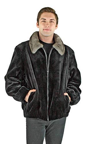 Day Furs Man's Black Sheared Mink Fur Jacket with Blue Iris Mink Collar