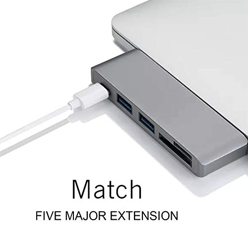 USB-C Hub Multiport Type-C Hub Adapter 2 USB 3.0 Ports, Type C Charging Port, SD/Micro SD Card Reader MacBook ChromeBook Pixel, Pocket Size