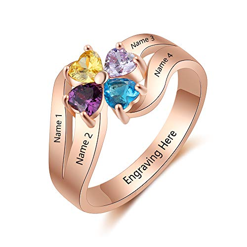 Love Jewelry Personalized Mothers Rings with 4 Simulated Birthstones Names Custom Mom Rings Women Promise Rings for Her (Rose Gold, 7)