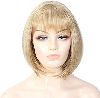 Amazon Com 12 Inch Medium Blonde Bob Wigs With Bangs Natural Hair Heat Resistant Short Straight Wig Shoulder Length Synthetic Hair Cosplay Party Wig For Women Beauty