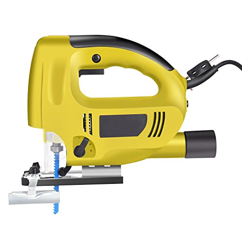Rapesee Electric Jigsaw Power Tool Machine, 800W 6 Speed Laser LED Lights Handheld Jig Saw Cutter with Portable Plastic box 1.8M Cable Length