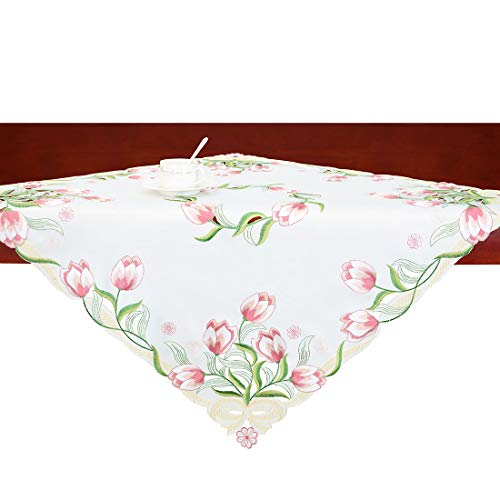 Simhomsen Small Embroidered Tulip Floral Square Tablecloth for Spring and Easters, Toppers, Tablecovers for End Table, Tea Table, Coffee Table and Nightstand (Pink, 33 × 33 Inch)
