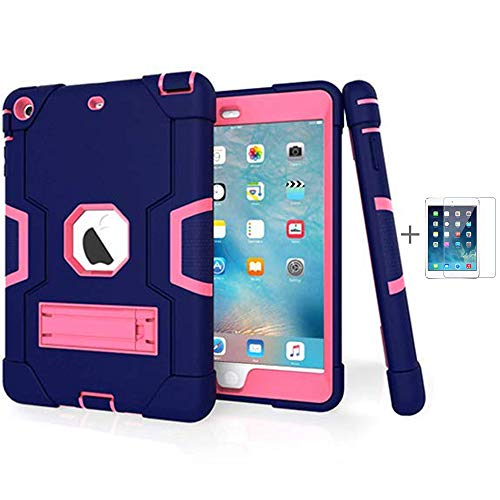 iPad Mini Case, Mini 2 Case, Mini 3 Case, Rugged Kickstand Series - Shockproof Heavy Duty Hybrid Three Layer Armor Defender Kids Child Proof Case Cover (Purple Pink + Screen Protector)