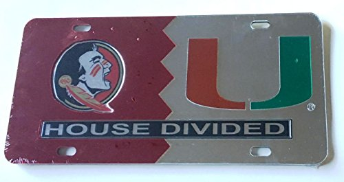Florida State House Divided (Florida State Seminoles - Miami Hurricanes - House Divided Mirrored Car Tag License Plate)