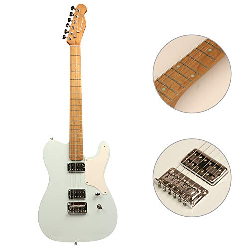 ZUWEI Semi Hollow Body Electric Guitar with Roasted Maple Neck, Alnico Pickups and Bone Nut, Trans Wood Body, with Gig Bag and Cable (Trans Blue)