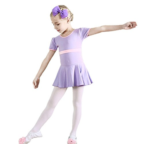 Winzero Girls Short Sleeve Soft Cotton Ballet Latin Slim Spliced Dress for Dancing Athletic Leotards Age 4-9 Years]()