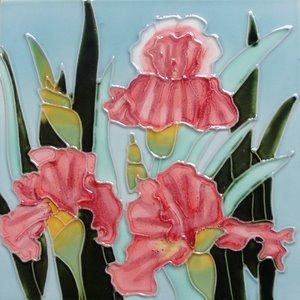 Brown Iris Flower Decorative Ceramic Wall Art Tile 6x6