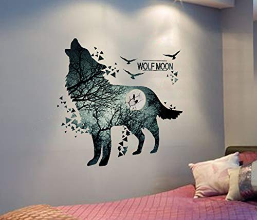 GVGs Shop 1 Pc Wolf PVC Material Self Adhesive Wild Animal for Kids Rooms Wall Stickers Flowers Dinosaur Sun Moon Decal Baby Living Room Car Decals Supreme Popular Vinyl Mural Art Decor, Type-02