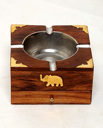 JBRD TOYS Handmade Indian Wooden Ashtray Outdoor Ashtrays - with Cigarette Storage Case Box - Artisan Crafted