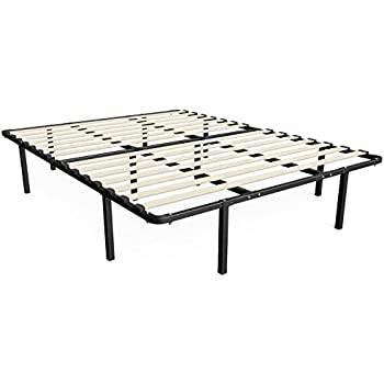 zinus 14 inch myeuro smartbase wooden slat mattress foundation platform bed frame box spring replacement queen - Bed Frame And Box Spring