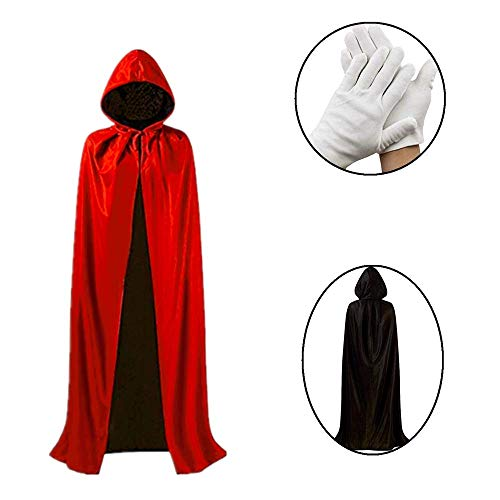 AQUEOUS Halloween Party Hooded Cloak with Collar Hat,Red