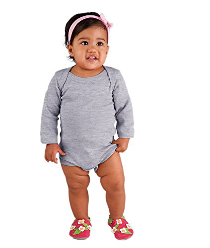 Rabbit Skins Infant Baby Rib Lap Shoulder Long Sleeve Bodysuit (Heather) (12)