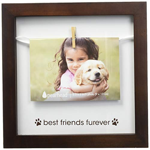 Pearhead Pet Best Friends Furever Clothespin Photo Frame, Perfect Keepsake Gift for Pet Lovers Best Friend Dog Frame