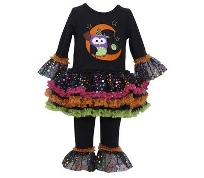 Bonnie Baby Girls' Owl Appliqued Tutu Legging Set, Black, 18 Months