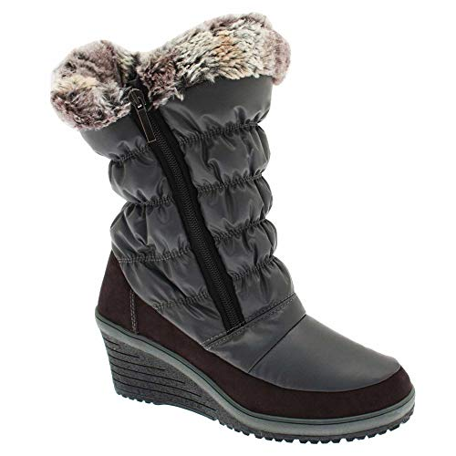 Grey Snow Boot New Fur Italia Women's Wedge Lined rwK0qUg0B