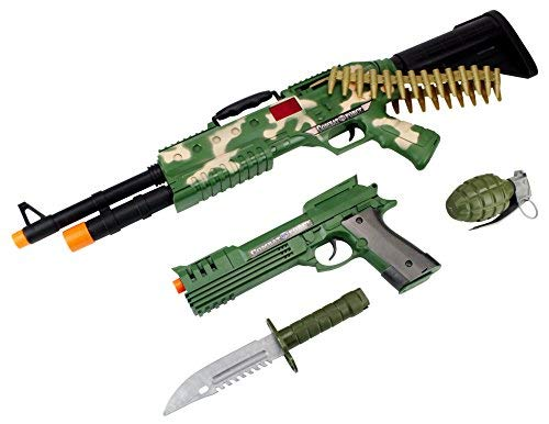 Camo Combat Force Army Soldier 4 Piece Children Kid's Pretend Play Battery Powered Toy Gun Playset w/ Gun, Pistol, Knife, -