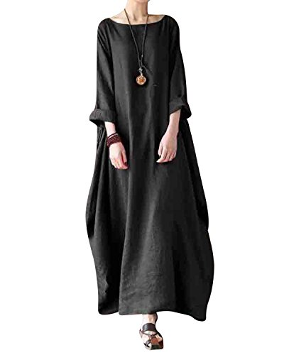 Jacansi Women Casual Party Oversize Cotton Linen Asymmetric Hem Swing Maxi Dress Black 3XL by Jacansi (Image #1)