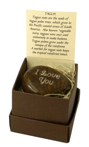 Engraved Tagua Nut, Boxed, I Love You. Express Your Feelings in a Beautiful and Unusual Way. From Lifeforce Glass.