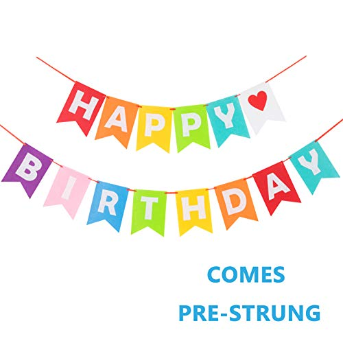 Preassembled Colorful Happy Birthday Banner Felt for Rainbow Happy Birthday -