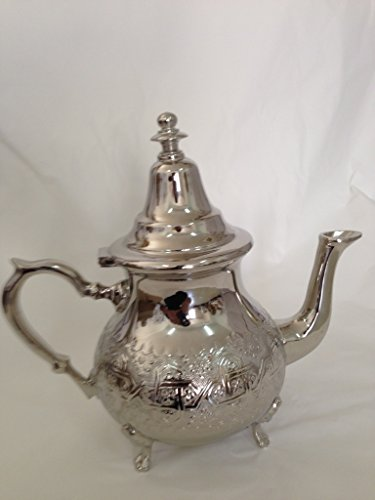 Moroccan 8 Cups Tea Pot Handmade Serving Medium Brass Silver Platted Teapot Hand Carved In Fes Morocco