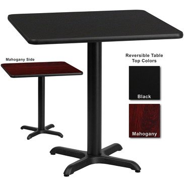 Flash Furniture 24 Inch Square Dining Table W/ Black Or Mahogany Reversible Laminate Top by Flash Furniture