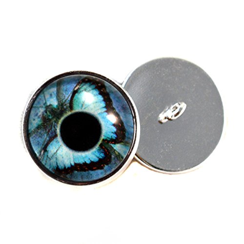 Blue Butterfly Eyes With Sew In Loops 16mm Glass Eye Cabochons for Fantasy Art Doll Stuffed Animal Soft Sculptures or Jewelry Making Crafts Set of 2 (Butterfly Eye)