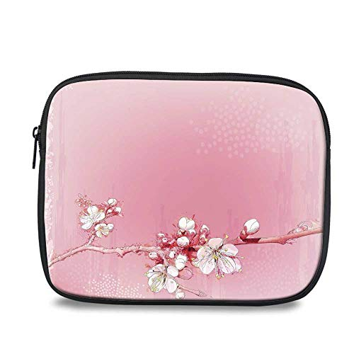 Peach Durable iPad Bag,Japanese Inspired Cherry Blossom Branch Sakura Flowers in Soft Colored Spring Time Decorative for iPad,10.6