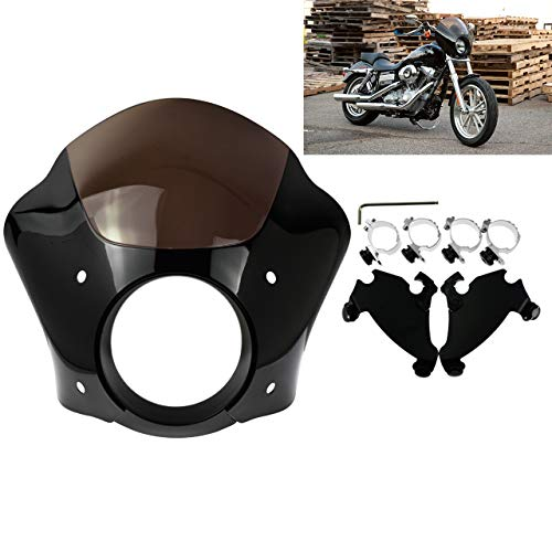 Rebacker Black Headlight Gauntlet Fairing With Trigger Lock Mount For Harley Sportster 1200 883
