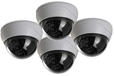(4 Pack) Fake Security Camera CCTV Dome Camera with Realistic Look Recording Red LED Light Indoor and Outdoor Use, for Homes & Business- by Armo by Armo