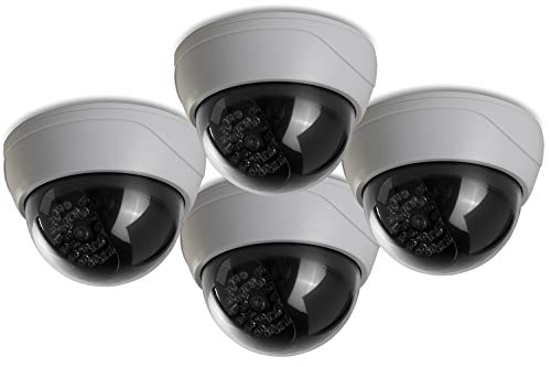 (4 Pack) Fake Security Camera CCTV Dome Camera with Realistic Look Recording Red LED Light Indoor and Outdoor Use, for Homes & Business- by Armo