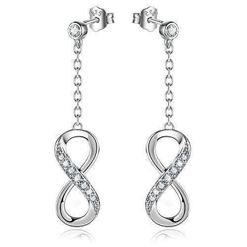 - Billie Bijoux Women 925 Sterling Silver Infinity Dangle Drop Earrings Studs Infinity Love Round Cut CZ Diamond Jewelry Women Girls Gift for Mother's Day (Drop)