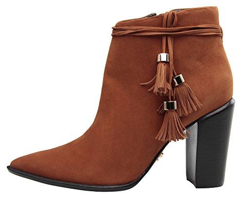 Carrano Elise Nubuck Leather Fringe Tassle Botaie Canela