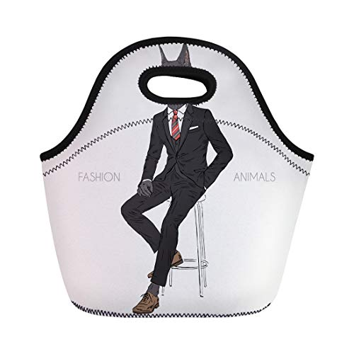 (Semtomn Neoprene Lunch Tote Bag Doberman Pinscher Dog Dressed Up in Black Suit Sitting Reusable Cooler Bags Insulated Thermal Picnic Handbag for Travel,School,Outdoors,Work)