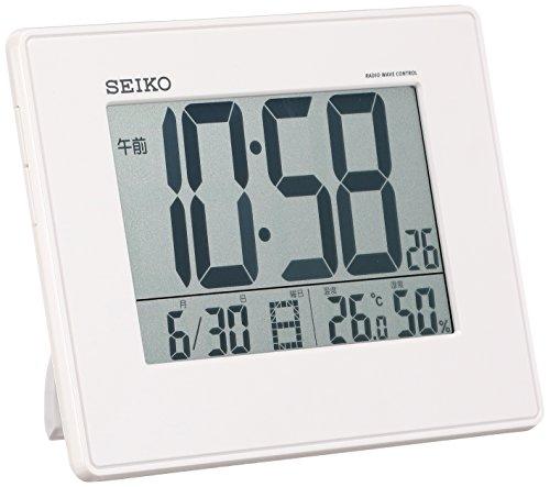 세이코 clock 자명종 전파 디지탈 괘치겸용 캘린더 온도 습도 표시 대형 화재미 펄 SQ770W SEIKO