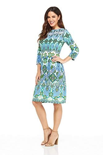 London Times Women's 3/4 Sleeve Matte Jersey Shift Dress, White/Blue, 12 -