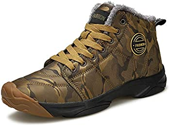 ulogu Men's Winter Snow Boots Fur Lined Antiskid Cold Weather Shoes