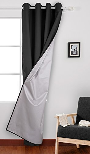 Deconovo Solid Color Oxford Curtains Grommet Sliver Curtain With Backside Silver Backing For Living Room