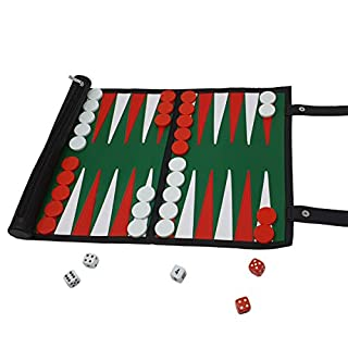 Backgammon Travel Set in Sturdy Leatherette Design - The Classic Board Game in Roll Up Style