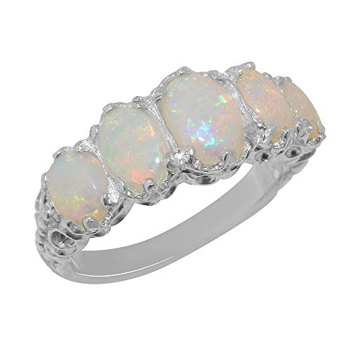 925 Sterling Silver Real Genuine Opal Womens Band Ring