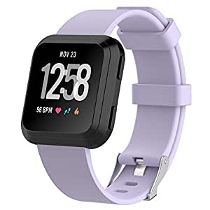 """Fitbit Versa Watch Bands , IVSO Men Women Kids 11 Colors Soft TPE Silicone Sport Quick Release Classic Loop Band Adjustable Strap Wristbands Accessory Replacement Watch Bands For Fitbit Versa Smartwatch ,Purple , 5.5""""-7.1"""""""