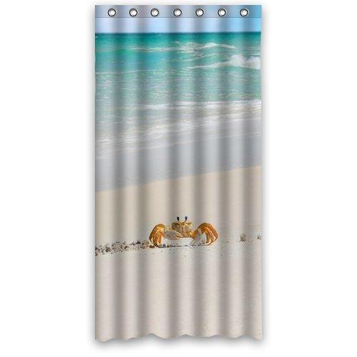 36x72 Inches - Cute Crab Walking In Beautiful Beach Shower