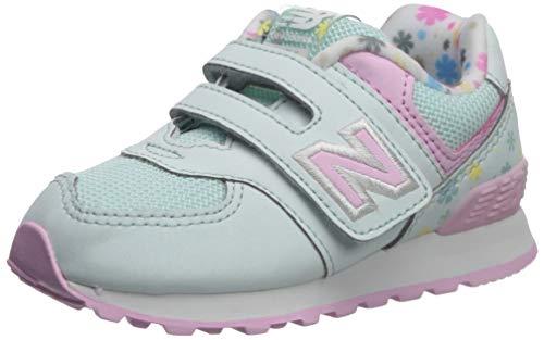 New Balance Girls' Iconic 574 V1 Hook and Loop Running Shoe, SAGE/Crystal Rose, 4 W US Toddler ()
