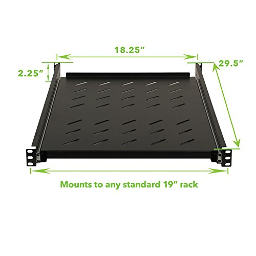 NavePoint Sliding Rack Vented Server Shelf 1U 19'' 4 Post Rack Mount 29.50'' (750mm) Deep by NavePoint