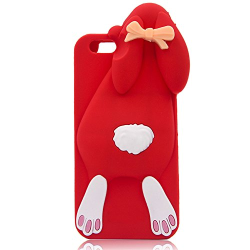 iPhone 7 Plus Case iPhone 8 Plus Case Sunvy 3D Cartoon Rabbit Protective Skin Soft Rubber Silicone Cover For iPhone 7Plus/8Plus (red)
