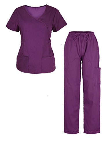 G Med Women's Ultra Soft Top & Pants Fashion Scrub Set(SET-MED,EPT-L)