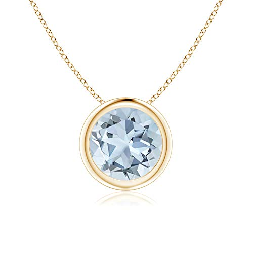 Bezel Set Aquamarine Pendant Necklace in 14k Yellow Gold (7mm), 18