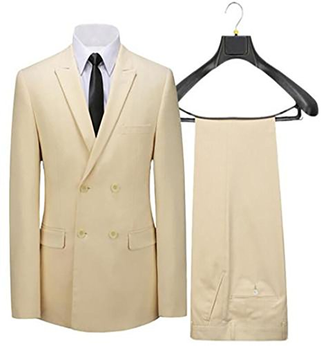 Double Breasted Tuxedo Jacket Peak (Mens 2-Pieces Beige Double Breasted Blazer Jackets Wedding Groomsmen Suits)