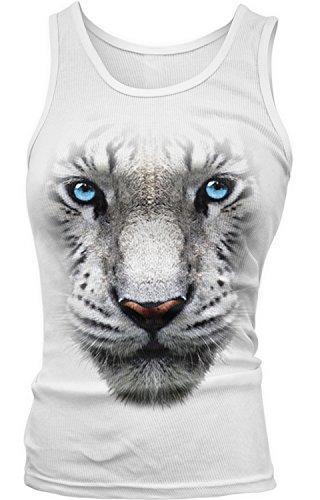 Amdesco Junior's White Bengal Tiger Face Tank Top, White -