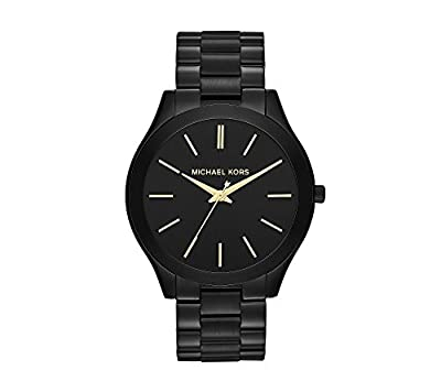 Michael Kors Men's Mid-Size Black IP Slim Runway Three-Hand Watch from Michael Kors